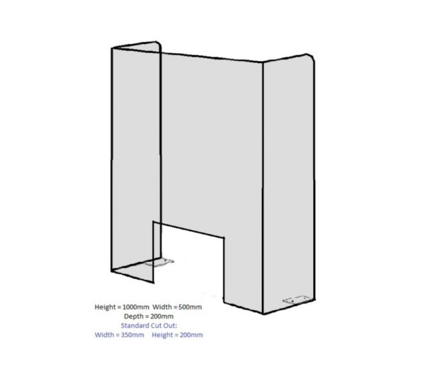 Perspex Screen 1000mm x 500mm x 200
