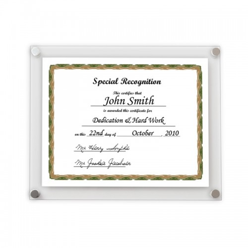 clear acrylic certificate frame wall