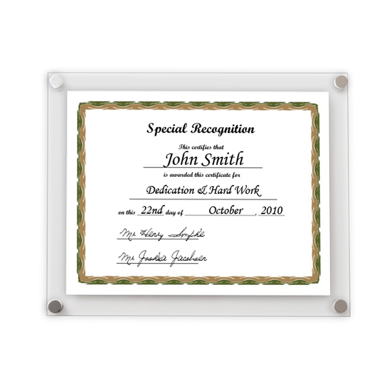 A4 Certificate Wall Frame / various colours | Get Acrylic Photo Frames